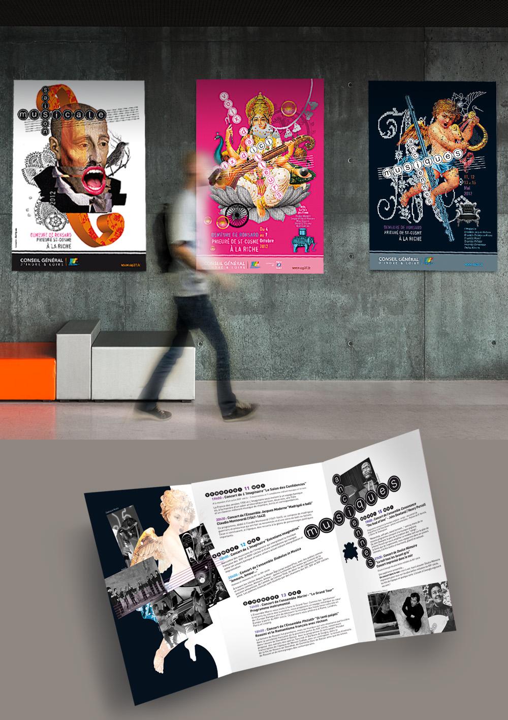 """Conception des supports de communication pour """"Les Saisons musicales"""" (affiches, brochures, plaquettes, flyers)"""
