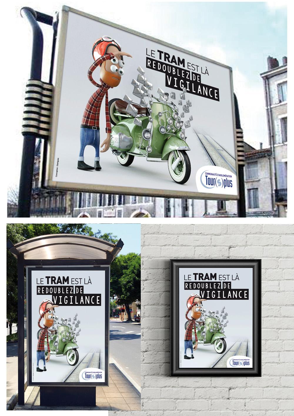 Conception d'une campagne globale de prévention pour le Tram de Tours