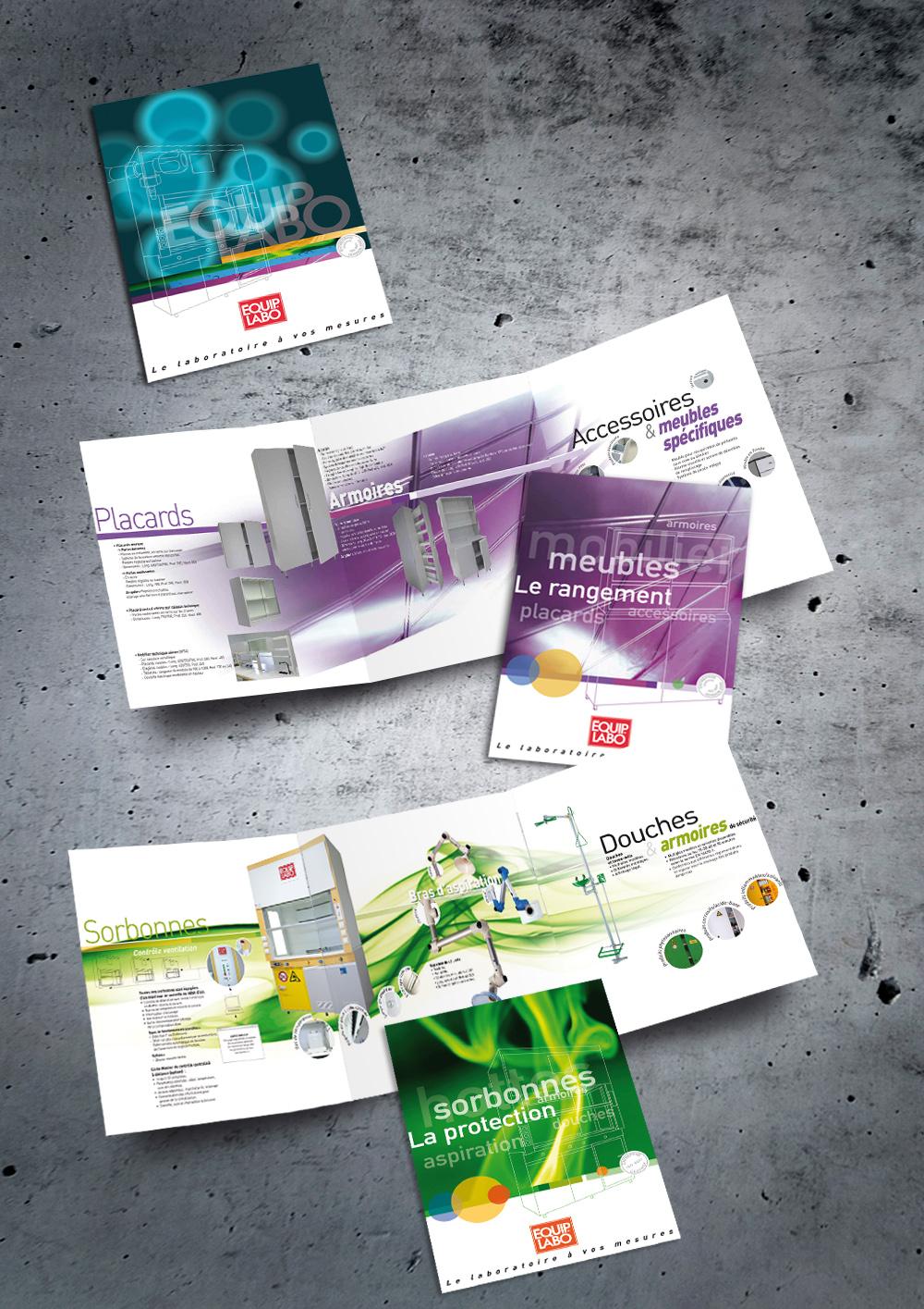 Conception de plaquette 6 pages 3 volets A4 et de fiches produits