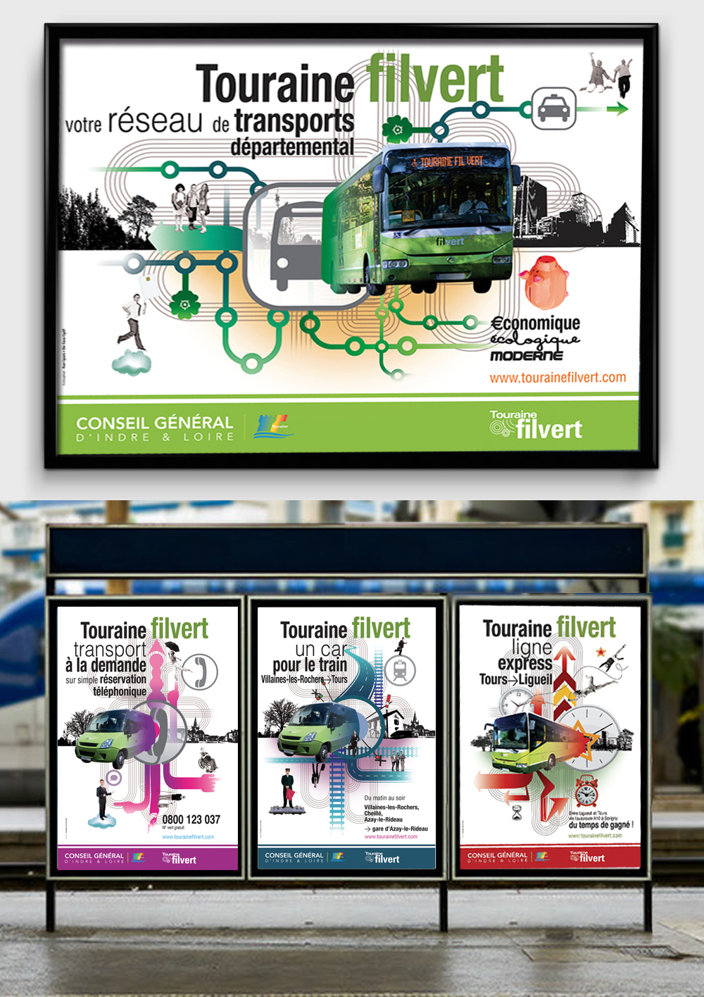 conception création campagne communication institutionnel pour le réseau de transport du Conseil départemental (affiches, flyers...)