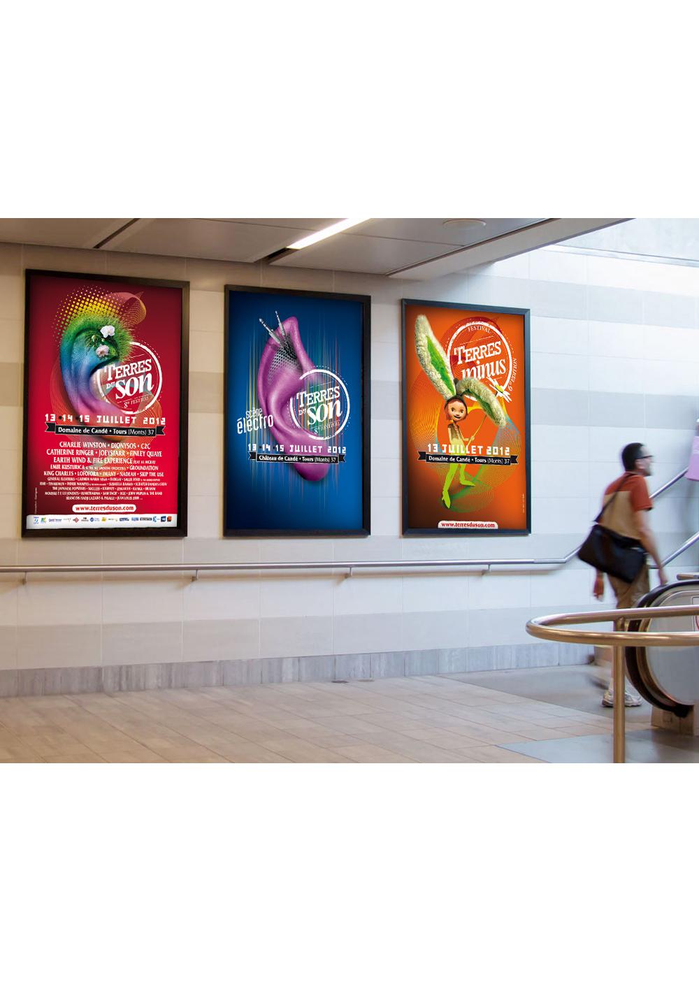 Conception des supports de communication pour le Festival Terres du Son (affiches, programme, invitation...)