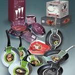 Conception de packagings, plats, verre, boîtes, poêles
