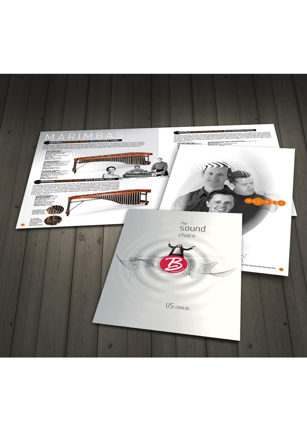 conception, création mise en page d'un catalogue pur un fabricant d'instruments de musique