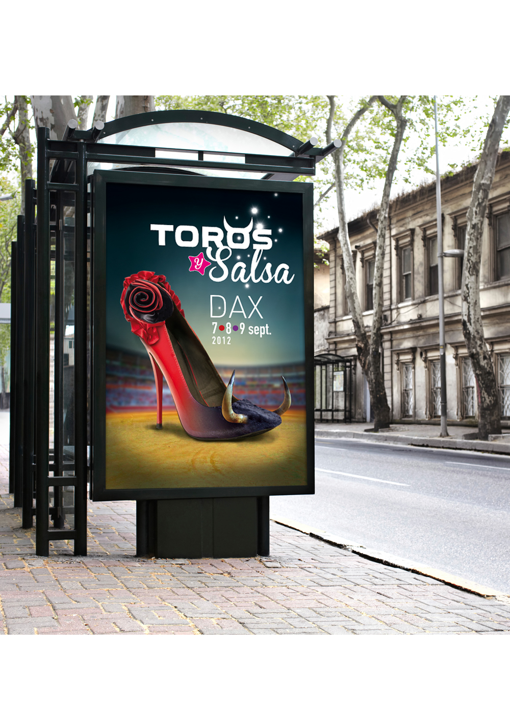Conception des supports de communication pour le Festival Toros Y Salsa (affiches, programme, invitation...)