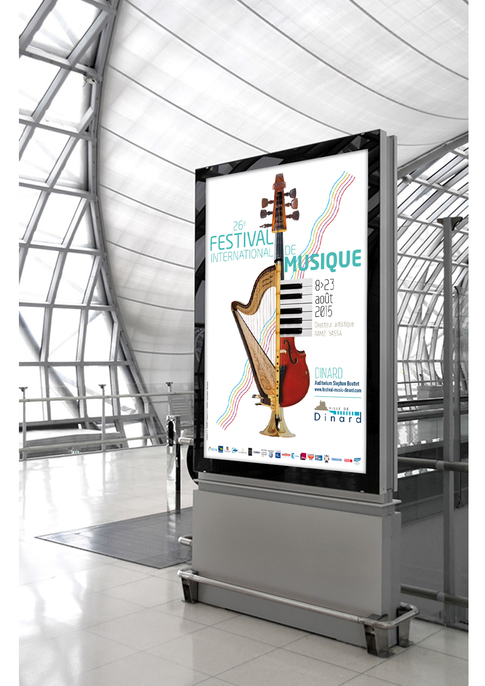 Conception des supports de communication pour le Festival international de musique de Dinard (affiche, brochure, invitation)