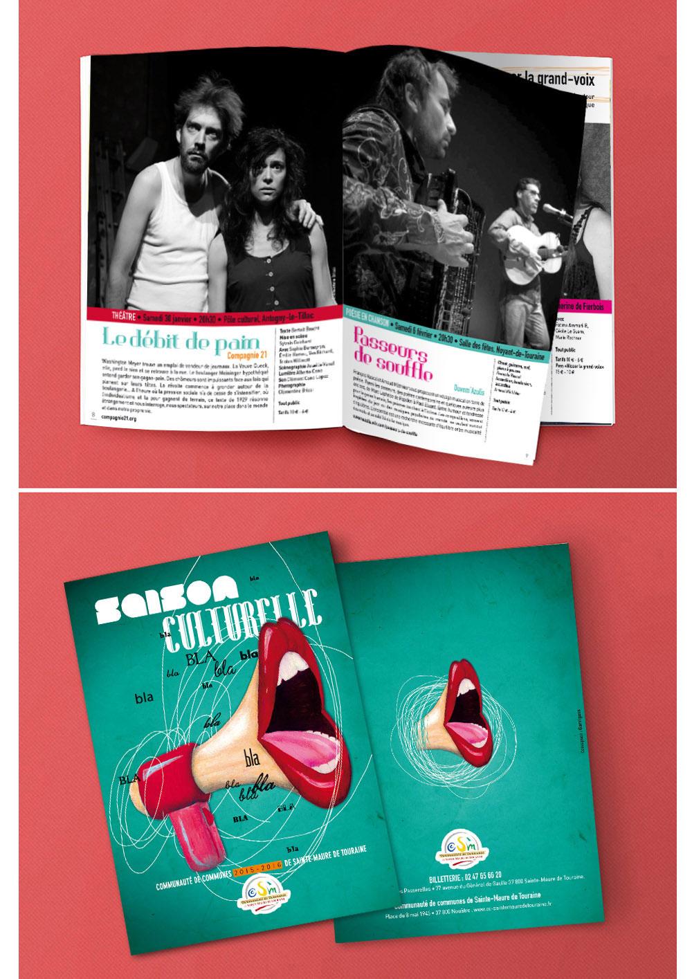 Affiche et brochure saison culturelle Communauté de communes Sainte Maure de Touraine