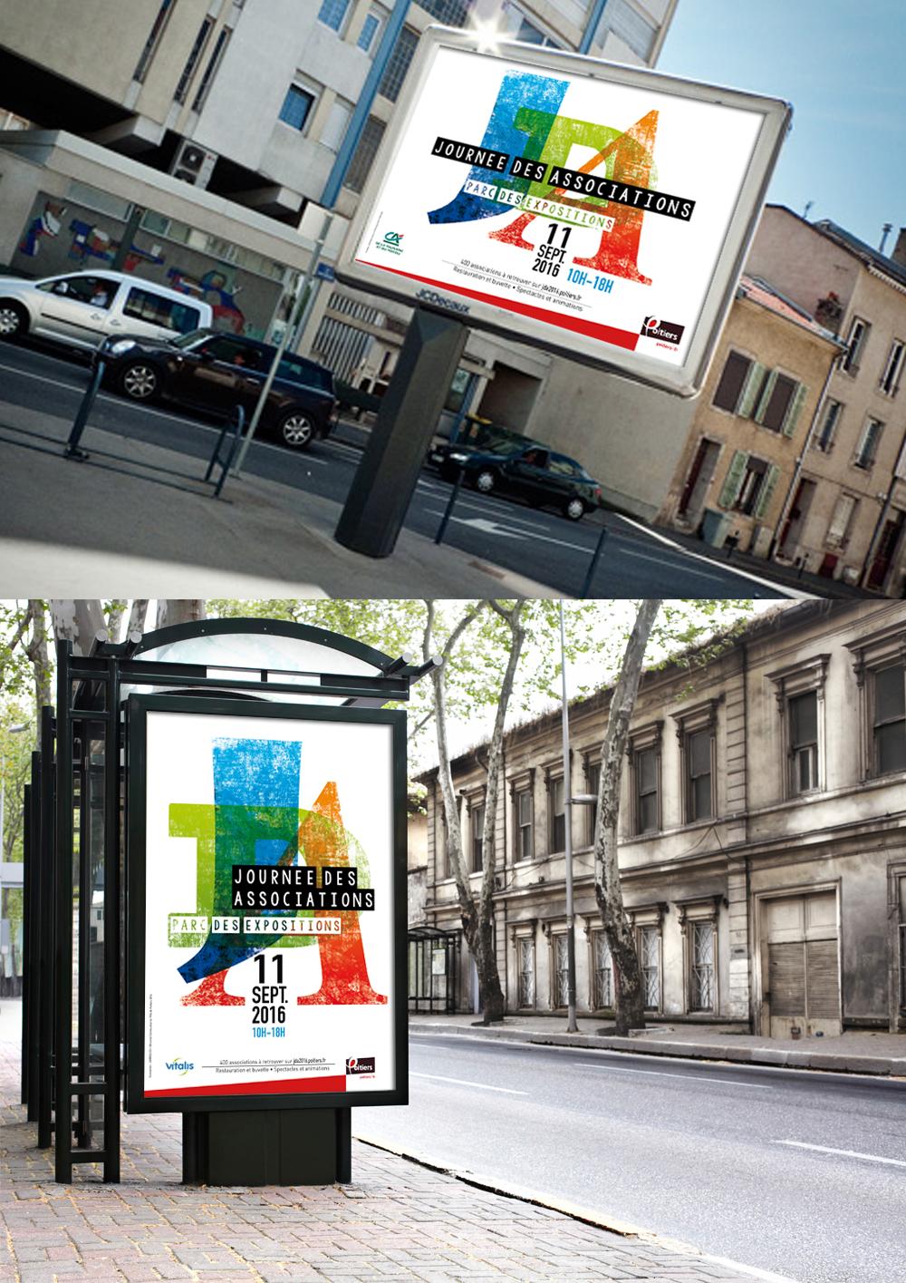 Affiche et visuel et journée des associations ville de Poitiers