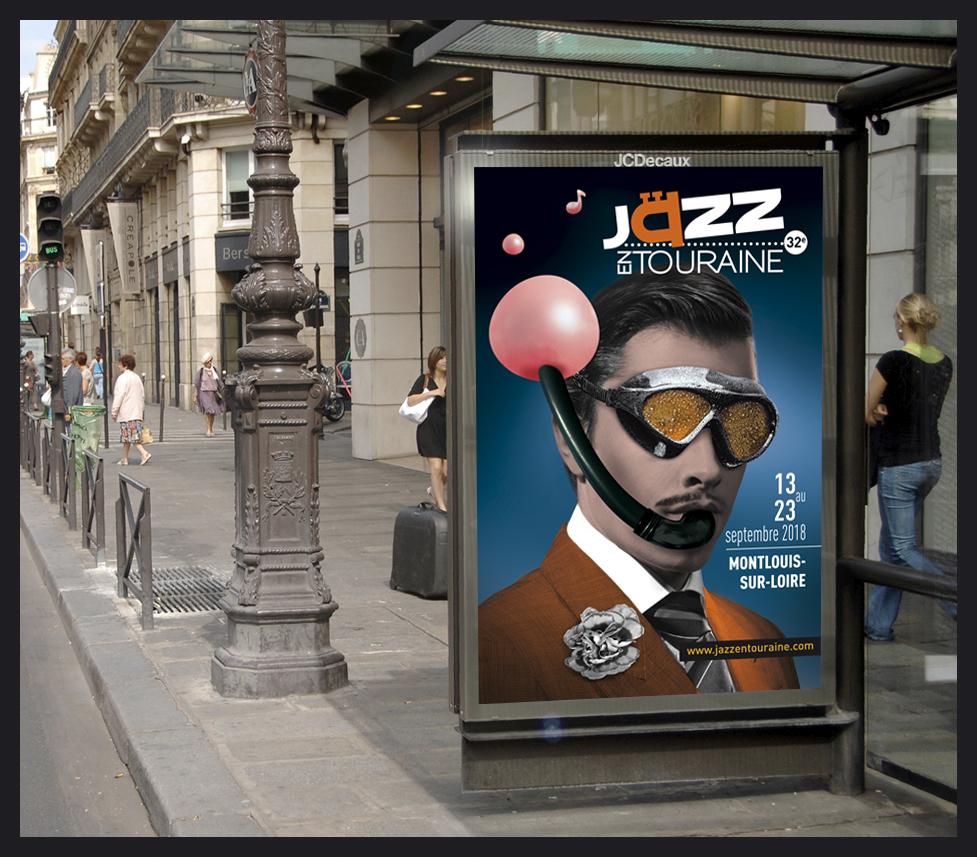 Conception du visuel et des différents support de communication pour le festival Jazz en Touraine 2018. Affiches, invitations, annonces, programme....