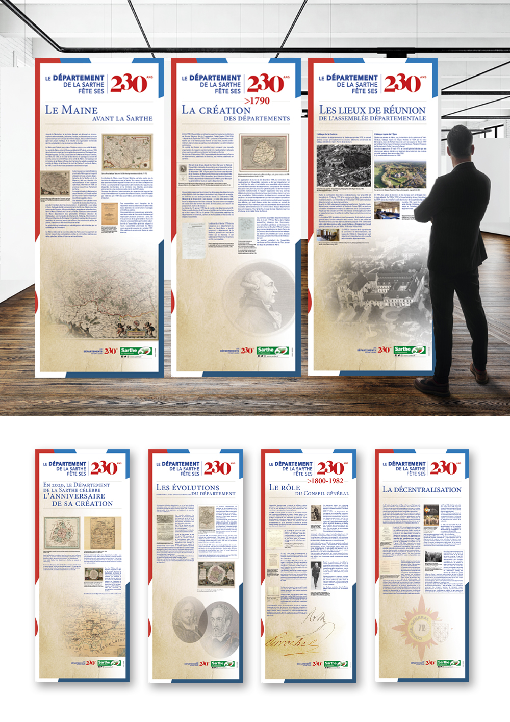 exposition département Sarthe 230 ans conception création graphique roll up communication