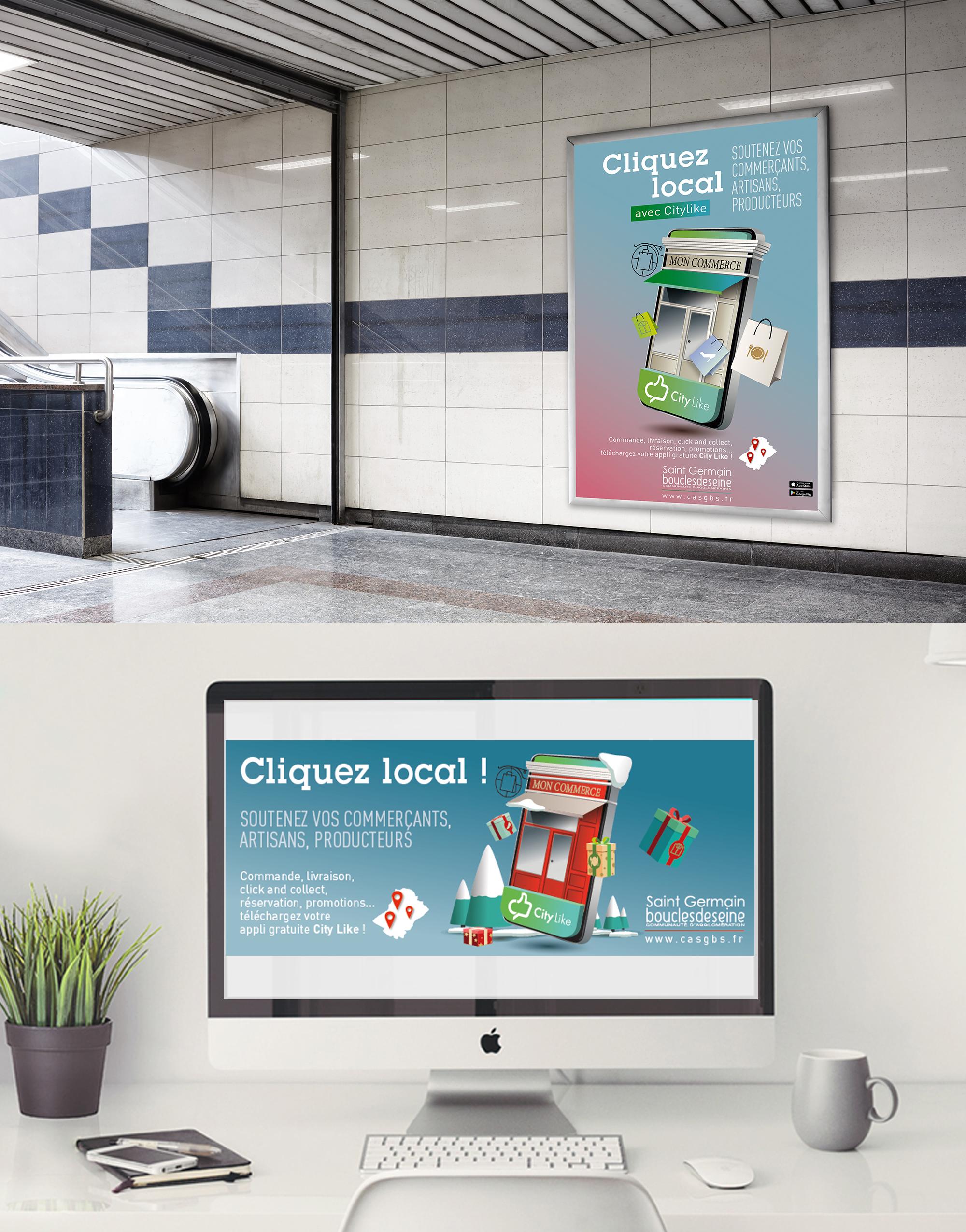 affiche création campagne communication citylike paris commerces commerçants publicité saint germain boucles de seine
